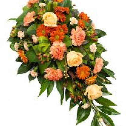 orange and peach funeral flowers