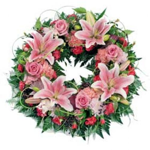 Pink Loose Wreath Funeral Flowers