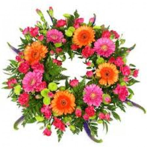 Colourful Funeral Wreath Funeral Flowers
