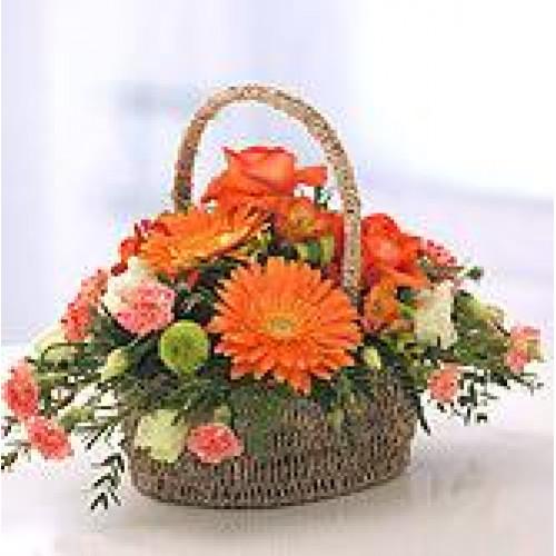 Orange Appeal Basket Of Flowers