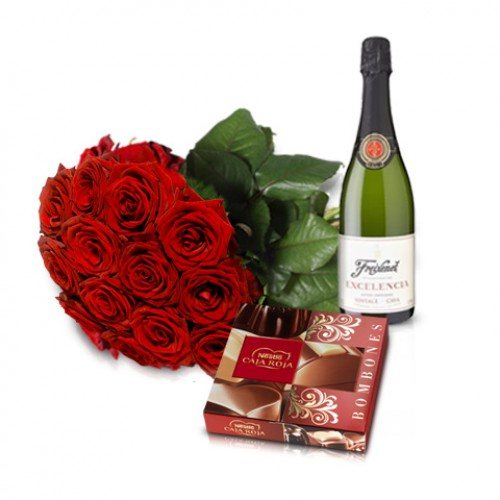 Valentines flowers and chocolates
